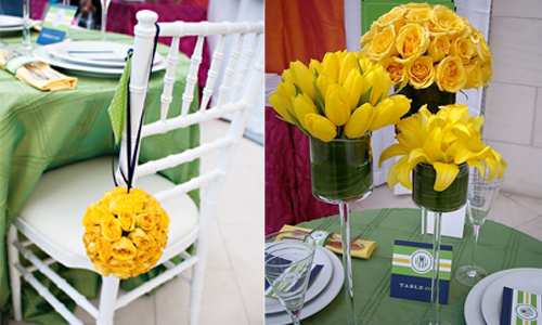 We created a set of colorful monochromatic centerpieces using yellow roses