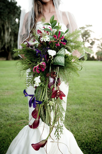 cymbidium orchid wedding bouquet amaranthus cascade calla gloriosa fern tropical